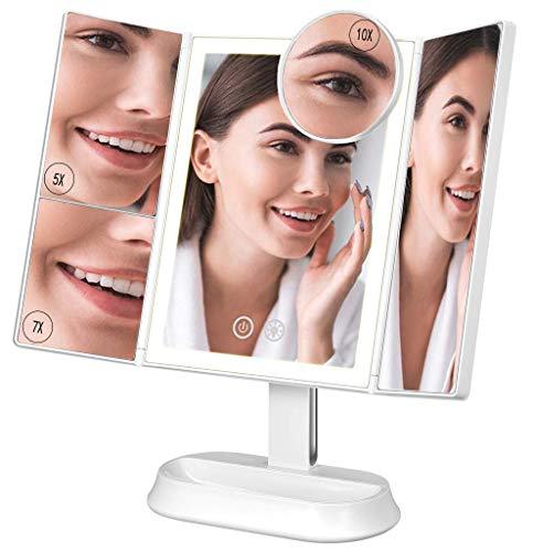 Ovonni Espejo Maquillaje con Luz, Espejo Triple Plegable, Espejo de Mesa Tríptica, Aumentos 1X / 5X...