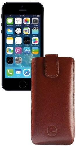 Original Favory Etui Tasche für / Apple iPhone SE - 5 - 5S - 5C / Leder Etui Handytasche Ledertasche Schutzhülle Case Hülle *Lasche mit Rückzugfunktion* In Braun Braun