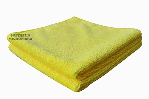 SOFTSPUN Microfiber Cloth - 2 pcs - 40x40 cms - 340 GSM Yellow - Thick Lint & Streak-Free Multipurpose Cloths - Automotive Microfibre Towels for Car Bike Cleaning Polishing Washing & Detailing