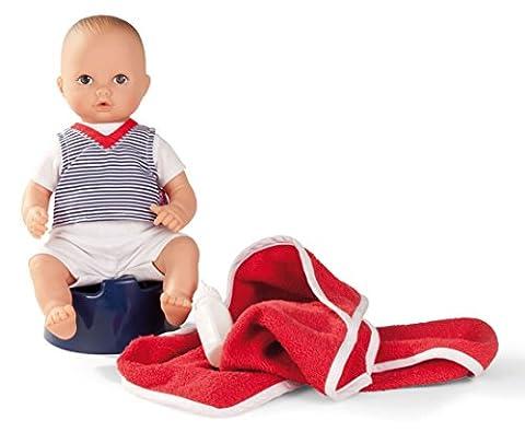 Götz 1354015 Aquini Junge - Navy - 33 cm großes Badebaby mit gemalten braunen Augen, ohne Haare in einem 6-teiligen Set mit Töpfchen, Fläschchen und Badetuch - geeignet für Kinder ab 18 Monaten