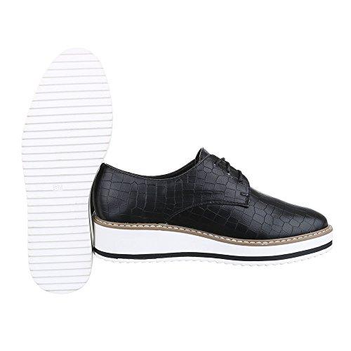 Ital-Design Schnürer Damen Schuhe Oxford Schnürer Schnürsenkel Halbschuhe Schwarz