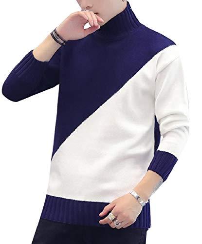 CuteRose Men Assorted Colors Turtleneck Knit Long Sleeve Pullover Knitwear Navy Blue XL Elbow Sleeve Hoodie