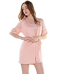 Aivtalk Camisón Picardías Seda de Tirantes con Encaje Ropa de Dormir Pijama con Bata Conjunto de 2 Piezas Lencería Nightwear para Mujer Chica…