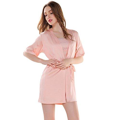 Aivtalk Damen Negligee Silk Shirt und Robe Spitze 2 Stücken Pyjamas Set Langarm Imitation Seide Nachtwäsche Nachtkleid Lace Schlafanzug Größe L - Rosa (Robe Nachtkleid)