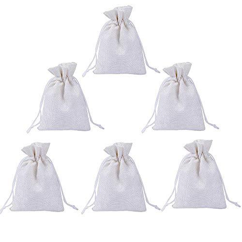 Gudotra 100pz sacchetti portaconfetti bianchi juta bustine bomboniere confetti per matrimonio battesimo compleanno natale regalo gioielli