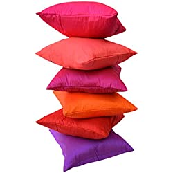 """GO GLAMOROUS"" EXOTIC OFFER!! 6 SHADES OF BRIGHT & BRILLIANT ""JEWEL TONE"" COMBO Premium Quality Art Silk Solid Cushion Covers/ Throw pillow covers (12"" x 12"" inches i.e 30x30 Cms)- By Royal DecoFurnishing"