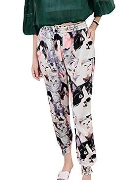 Guiran Pantalones Harem Para Mujer Pantalones Baggy Impreso Pantalones Harén 2XL