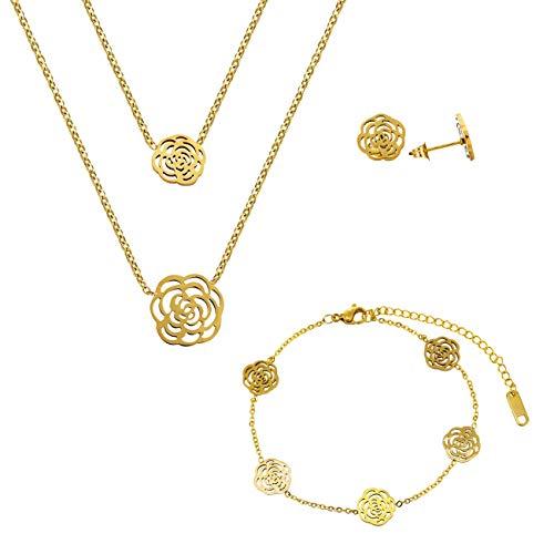 Lady Bling Bling Damen Schmuck-Set Halskette mit Anhängern, Armband und Ohrringe aus Edelstahl Zweireihig Rosen Blumen Blüten inkl. Etui (Gold) (Rose Blume Schmuck-set)