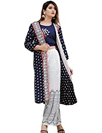 KANSHI Women's Rayon Printed Top with Palazzo & Long Shrug/Jacket | Round Neck | 3/4 Sleeve Knee Length Stright Kurta Used as Casual Wear & Office Dress