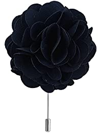 Imported Men's Gift Peony Flower Boutonniere Stick Lapel Tie Pin Brooch - Navy Blue