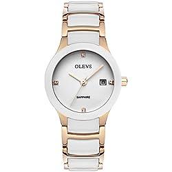 Fashion quartz watch/Calendar waterproof ceramic female form/ simple and casual watches-A