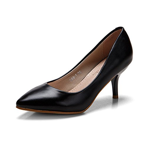 Moderne Femme dans le printemps et été court Tige Semelle Caoutchouc antidérapant pointe de Stiletto Slip On Ascenseur Uni Chaussures Décontracté Confortable Pumps Noir - Noir