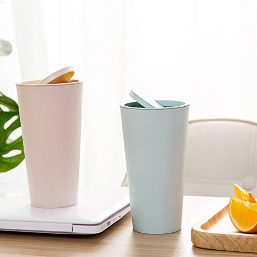 Gaddrt Mülleimer Küche Mülltrennung Geruchdichtem Deckel Trompete-Desktops Mini Kreativer Bedeckter Küchen-Wohnzimmer-Mülleimer Kommerzielle Abfalleimer (pink)