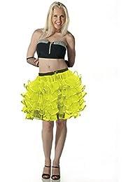 Crazy Chick 5 Layers Women Yellow Tutu Skirt With Ribbon 18 Inch