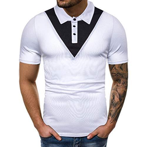 TEBAISE Poloshirts Herren Kurzarm T-Shirts Polohemd Männer 2019 Sommer Schwarz Weiß Shirt Einfarbig Basic T-Shirt S-XXL Regular Fit