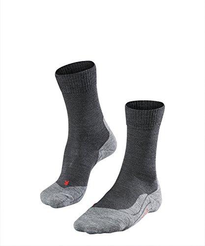 FALKE TK5 Damen Trekkingsocken / Wandersocken - grau, Gr. 37-38, 1 Paar, Merinowolle, leichte Polsterung, feuchtigkeitsregulierend -