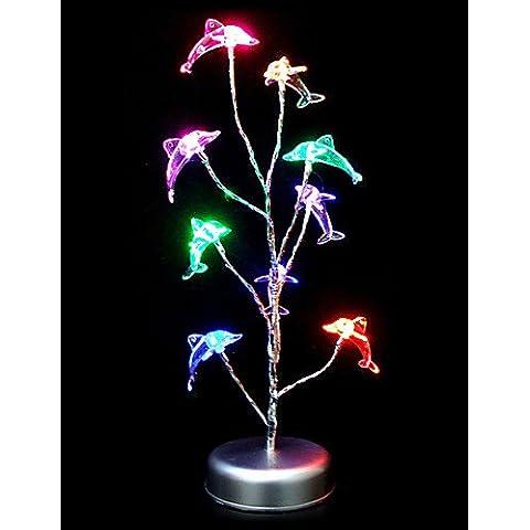 JSGN-Variopinta di figura del delfino da tavolo in plastica lampada , 90-240v - Bronzo Antico Di Figure