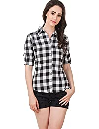 DAMEN MODE Women's Cotton Checkered Shirt