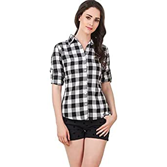 POISON IVY Women's Casual Checkered Rayon Shirt (A-White, Small)