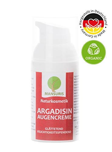 Bio Argadisin Augencreme für Frauen & Männer - Naturkosmetik mit Arganöl gegen Falten, Augenringe und Tränensäcke - Vegan - spendet Feuchtigkeit für empfindliche Augen & Haut, Anti Aging Pflege 30 ml