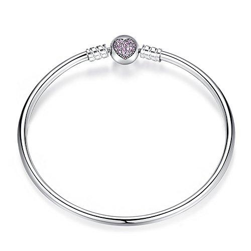 Genuine 925 sterling silver bead charm bracelet snap clasp fits pandora, bracelets européens compatible (21cm)