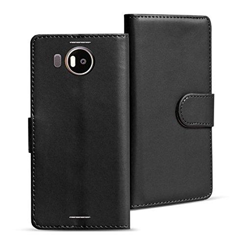 Verco Lumia 950 XL Hülle, Handyhülle für Microsoft Lumia 950 XL Tasche PU Leder Flip Case Brieftasche - Schwarz