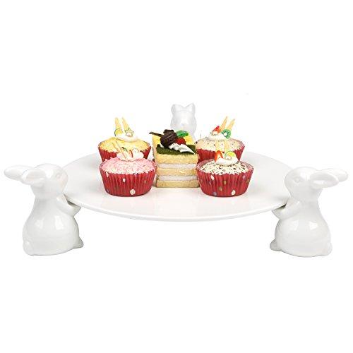 Deko Weiß aus Keramik Bunny Kaninchen Cake Ständer, Dessert Food Server Display Tablett Food Display-server