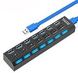 EX1 USB 3.0 USB HUB Haute Vitesse avec 7 Ports pour Transmission de Données Synchronisation Ordinateur Portable Computer PC
