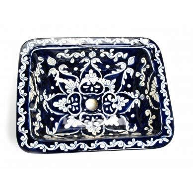 Dolores - Blaues Mexikanisches Eckiges Waschbecken | Eckig Einbauwaschbecken mit Rand | Keramik Talavera Einbau/Unterbau Waschbecken aus Mexiko