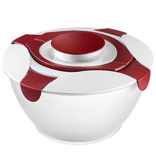 Westmark Salatbutler/-schüssel mit Tragegriffe und Dressing-Behälter, Fassungsvermögen: 6,5 Liter, Kunststoff, Praktika, Transparent/Rot, 2422227R
