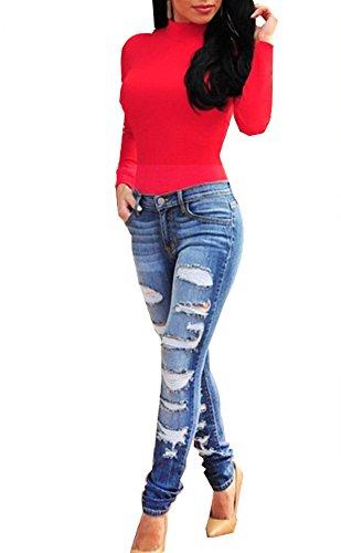 5c908e1f1390b6 Tribear Damen Hight Waist Jeans Hose Röhrenjeans mit Riss Knie Destroyed  Hose (3XL 44
