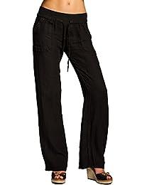 CASPAR KHS025 Pantalon en lin effet amincissant femme