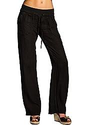Caspar KHS025 Damen Casual Sommer Leinenhose, Farbe:schwarz, Größe:M - DE38 UK10 IT42 ES40 US8