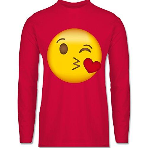 Shirtracer Comic Shirts - Emoji Kuss-Mund - Herren Langarmshirt Rot