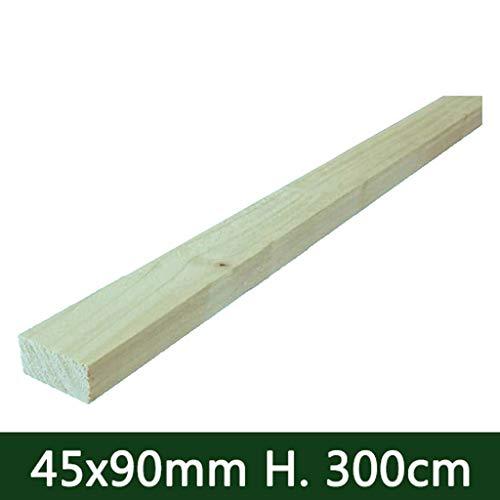 Nextradeitalia cf da 1pz tavola in legno piallata liscia per pergola gazebo giardino morale recinzione e pergolati trattato 45x90 mm h 300 cm
