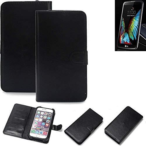 K-S-Trade Wallet Case Handyhülle für LG Electronics K10 (3G) Schutz Hülle Smartphone Flip Cover Flipstyle Tasche Schutzhülle Flipcover Slim Bumper schwarz, 1x
