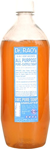CERO Dr Rao's Unscented All-Purpose Pure Castile Soap Perfect for Diy Projects, 1L