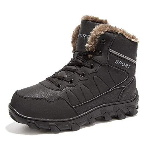 MERRYHE Scarponi da Trekking da Uomo Scarponi da Trekking Moda Campeggio Arrampicata Sportiva per Principianti Sport all'Aria Aperta Sneakers da Trekking Winter Warm Fleece Lining Shoes,Black-39
