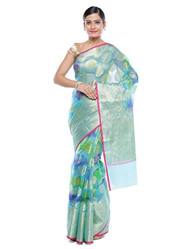 Style-In-Banaras Women's Organza Saree (Green)