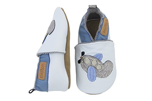 Melton Baby Jungen Leder-Krabbelschuhe Flugzeug Krabbel-& Hausschuhe Blau (Baby Blue205)