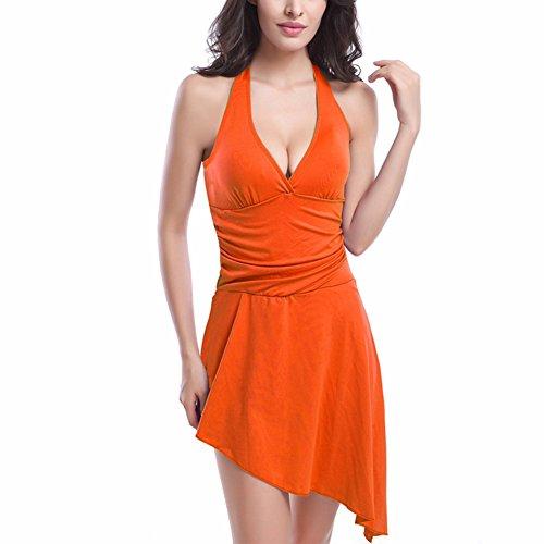jiajia Damen unregelmäßiger Saum Neckholder Beachwear Tiefen V-Ausschnitt Badeanzug Sundress Orange
