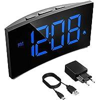 PICTEK Réveil Matin, Horloge Numérique 13cm LED Ecran Incurvé, Horloge Digitale avec 3 Sons d'Alarme, 6 Luminosité Variable et 2 Volume Ajustable, Opération Simple, Fonction Snooze