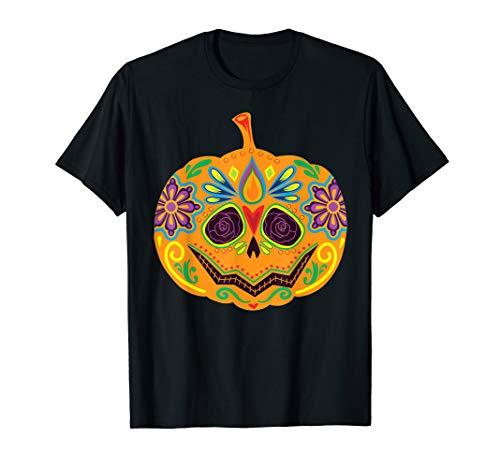 Furchtsames Halloween-Kostüm des Zuckerschädel-Kürbis T-Shirt