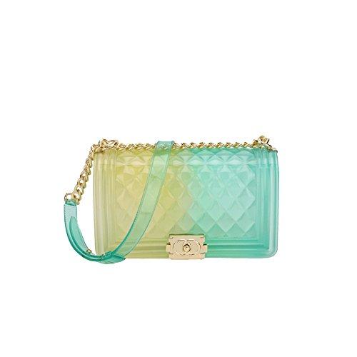 2018 Sommer Weiblich Mode Einfach Lingge PVC Schulter Kette Schlinge Clutch Bag Hand Tragen Mini Tasche Leder Tasche Baby Wickeltasche Klar Jelly Tasche,CC-20 * 8 * 12cm (Logo Handtaschen Gucci)