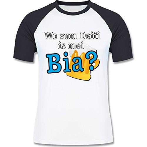 Après Ski - Wo zum Deifi is mei Bia? - zweifarbiges Baseballshirt für Männer Weiß/Navy Blau