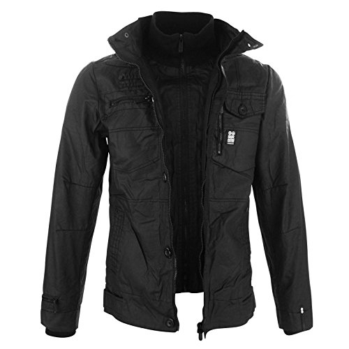 2a2b87bcff0 New Mens Full Zip Warm Crosshatch Jacket Padded Double Layer Button Winter  Coat