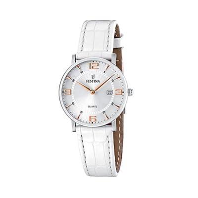 FESTINA F16477/4 - Reloj de mujer de cuarzo, correa de piel color blanco de Festina