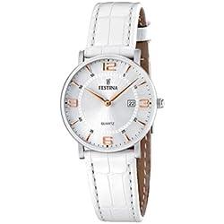 FESTINA F16477/4 - Reloj para Mujer de Cuarzo, Correa de Piel, color blanco