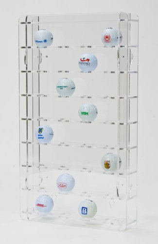 SORA vitrine de balle de golf acrylique pour 32 balles de golf, avec panneau arrière transparent