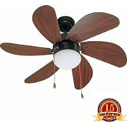 PALAO FARO 33185 - Ventilador de techo con luz 6 palas de madera MDF, Diámetro 760mm, Accionado por cadena
